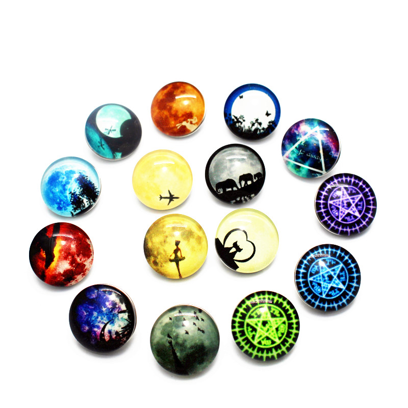 20pcs/lot Glow in The Dark Pattern Snap Button Random Glass Glowing Buttons Fit 18mm DIY Snap Bracelet Necklace Jewelry