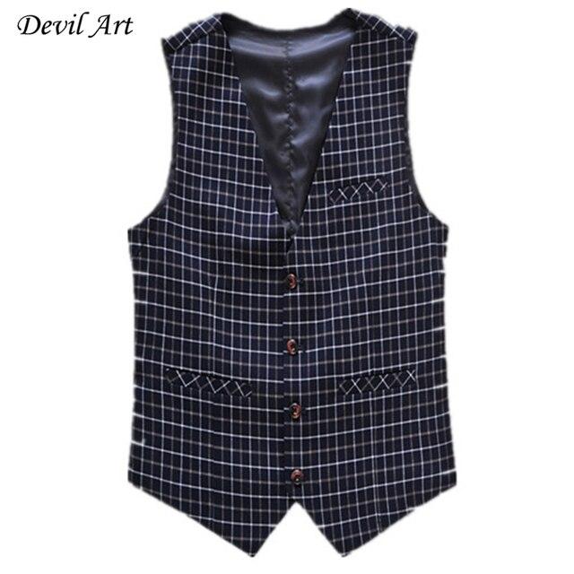 Men Formal Plaid Vest Fashion Business Brand Clothing Waistcoat Slim Wedding Suit Vest Blue Waistcoats Free Shipping 513