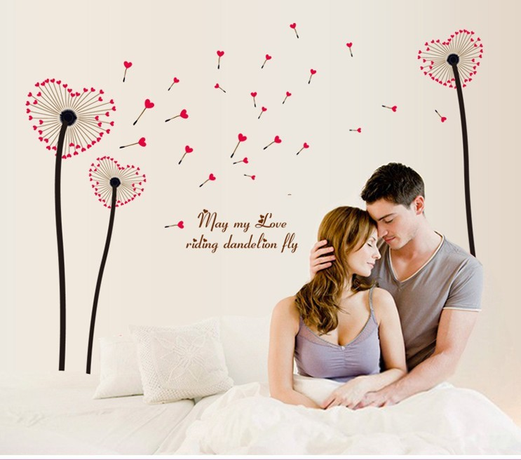 New 6026 Removable Love Heart Flowers Wall Quote Sticker Home Decor