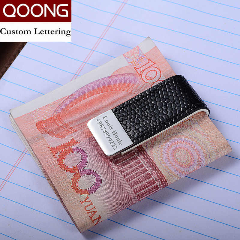 QOONG Mens Leather Money Clip Wallet Women Slim Metal Money Holder Couple Safe Wallet Bill Clip Clamp For Money ML1-046