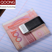 Mens Leather Money Clip Wallet Women Slim Metal Money Holder Couple Safe Wallet Bill Clip Clamp for Money ML1-046