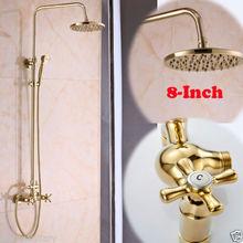 Роскошная Ванная Комната 8 «Дождь Настенные С Ручной Смеситель Для Душа Установить и Двойные Ручки + 8» Насадка для душа