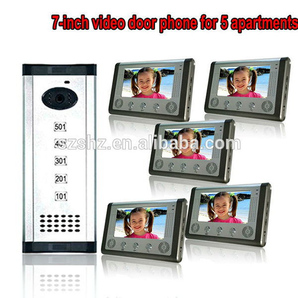 HOT 7TFT-LCD handsfree video door phone building intercom system for 5 apartments with high definition security camera rfid keyboard ip65 waterproof video doorphone intercom system for 3 apartments with 7 color lcd video intercom system in stock