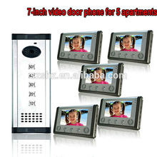 Cheap price HOT 7″TFT-LCD handsfree video door phone building intercom system for 5 apartments with high definition security camera