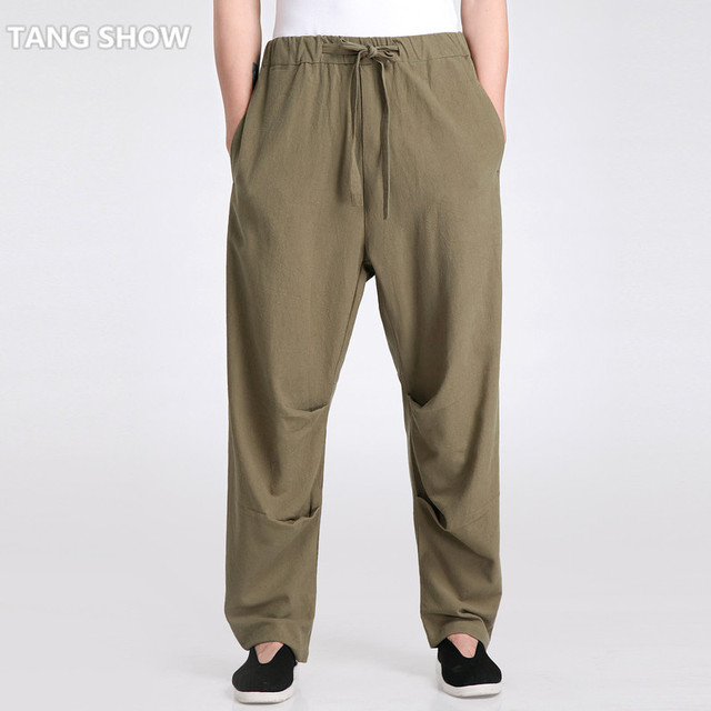 Army Green Chinese Men's Tai Chi  Trousers Cotton Linen Kung Fu Pants Male Tai Chi Loose Pant Size S M L XL XXL XXXL 2601