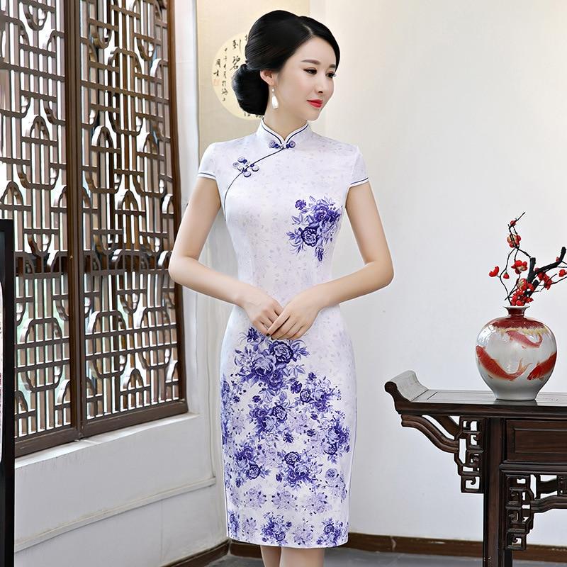 7597ab6eac6 New Arrival Lady Qipao Satin Chinese Classic Dress Elegant Oversize XXXL  Flower Mandarin Collar Cheongsam Slim Women Vestidos