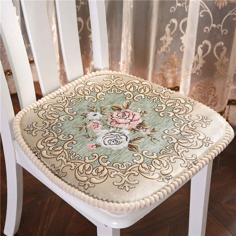 European Chair Cushion Thickened Dinning Chair Office Cushions Embroidered Cloth Cushion Anti-slip Sitting Pillow Soft Seat Pad