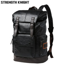 купить Patchwork Large Capacity Mens Leather Backpack For Travel Casual 15.6 Inch Laptop mochila Men Daypacks Leather Travle Backpack дешево