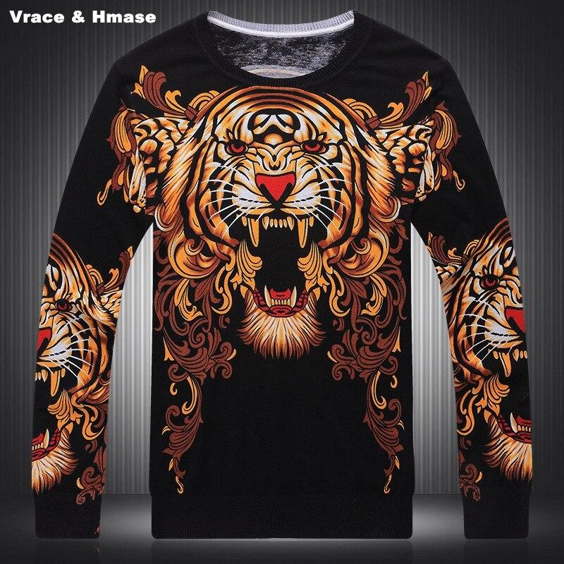 Domineering Big Tiger Head Pattern 3D Printing Fashion Sweater Autumn&Winter 2019 New Quality Knitting Fancy Men Sweater M-XXXL