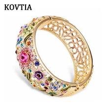 De alta Calidad AAA Cristal Austriaco Grandes Brazaletes de Puño de Oro de Bohemia de Color Para Las Mujeres Pulseras de Joyería de Moda 1305
