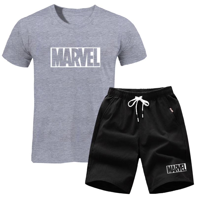 Two Pieces Tracksuit T-Shirt+Shorts Men Sets Men's Set MARVEL 2019 Brand Clothing Fashion Casual T Shirt Workout Fitness Tshirt