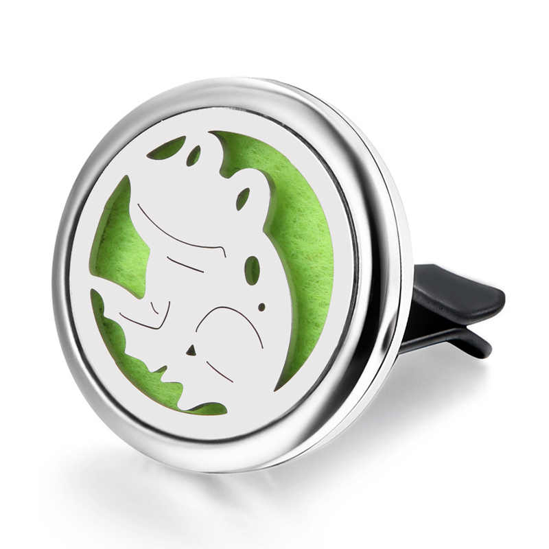 Car Air Diffuser Locket frog Stainless Steel Vent Freshener Car Essential Oil Diffuser Perfume Aromatherapy Necklace