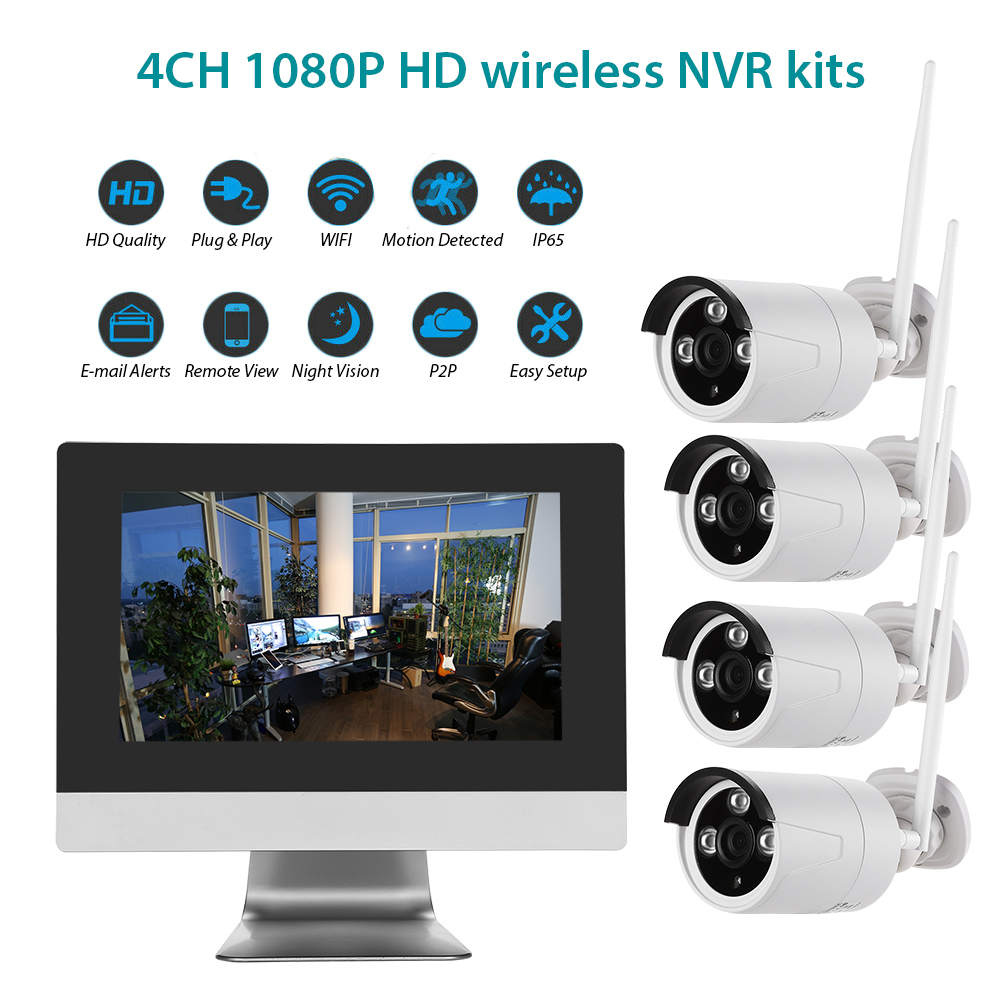 Wifi CCTV Camera System 4CH 1080P HD Wireless Security Camera DVR NVR Kit Waterproof Outdoor Home Video Surveillance System Cam