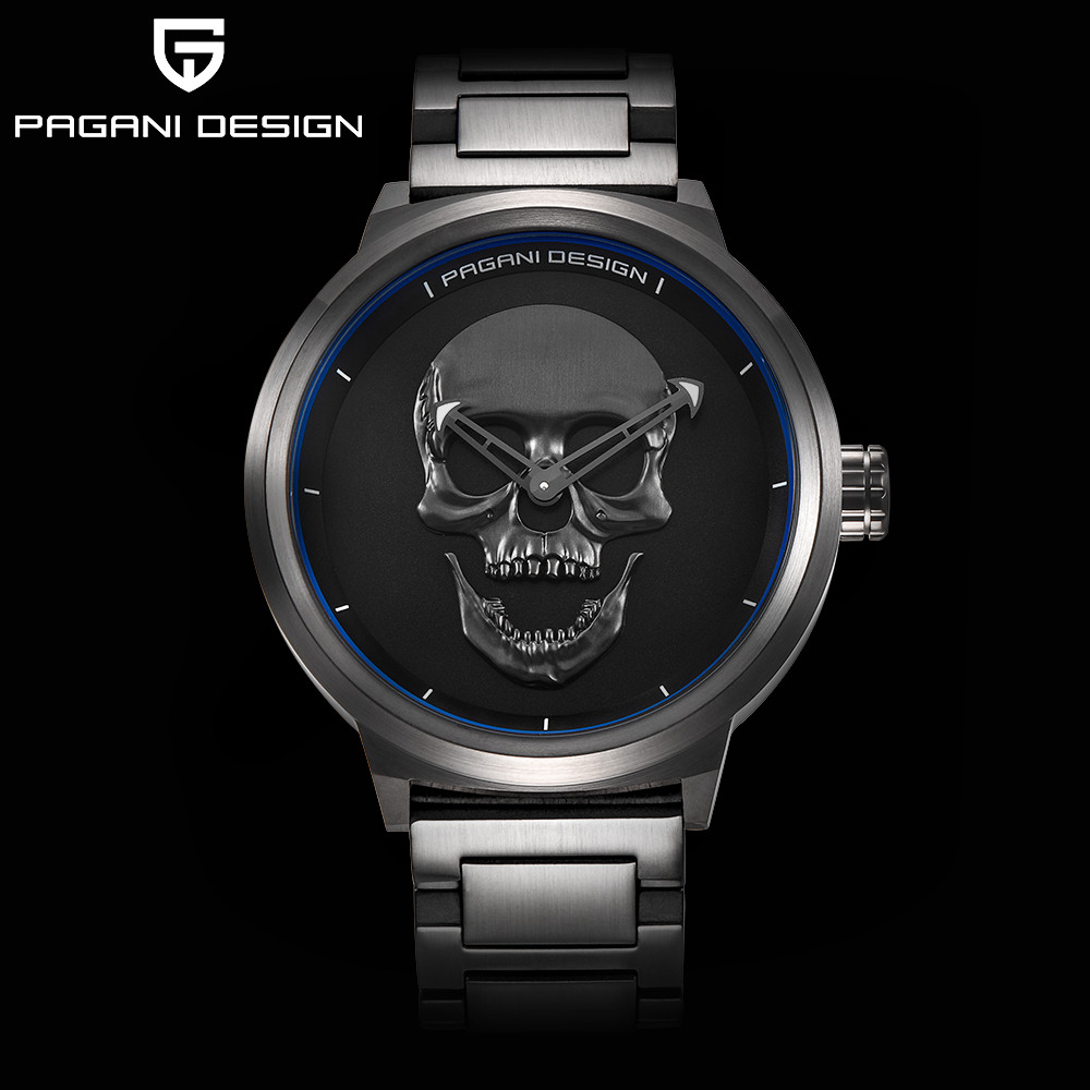 New Skull Watch Gothic Punk 3D Skeleton Mens Watches Top Brand Luxury Creative Wrist Watches for Men Clock Reloj Hombre With Box halloween party zombie skull skeleton hand bone claw hairpin punk hair clip for women girl hair accessories headwear 1 pcs