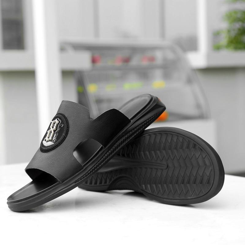 Black Ao Verão Praia Genuíno white Da Sapatos De Livre Deslizamento Em Passeio Artesanal Respirável Ar Moda Calçado 4 Casuais Couro Homens Do Sandálias 1q844wx