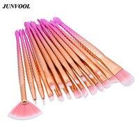 20Pcs Rose Gold Eyes Makeup Brushes Professional Pink Hair Eye Shadow Foundation Eyebrow Fan Brush Cosmetic