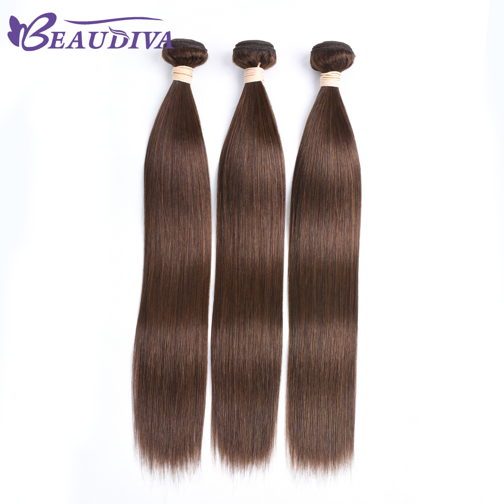 BEAU DIVA Hair Brazilian Straight Hair Weave Bundles 100% Human Hair Extensions 3 pc Non Remy Hair Bundles 4# Color 8-26 inch