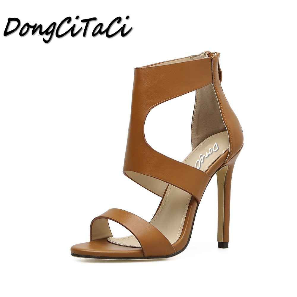 DongCiTaCi Summer Women Open toe High heels Sandals Shoes Woman Pumps Ladies Fashion sexy Roman Hollow out zipper Sandals bigtree summer fashion women high heels sandals suede shallow mouth pointed pearl ladies sandals sexy wedding red woman shoes