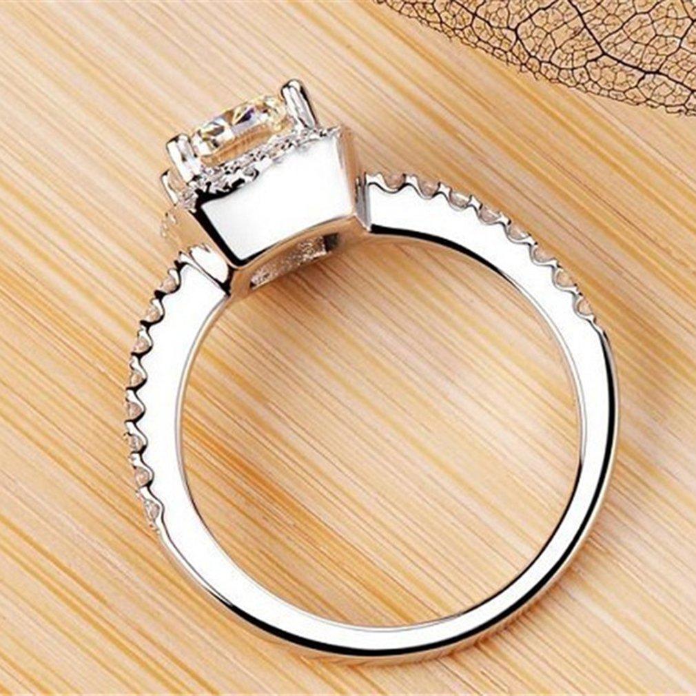 Luxury Bridal Rings Square Zircon Rhinestone Engagement Fashion Wedding jewellry Accessories Girls Gifts