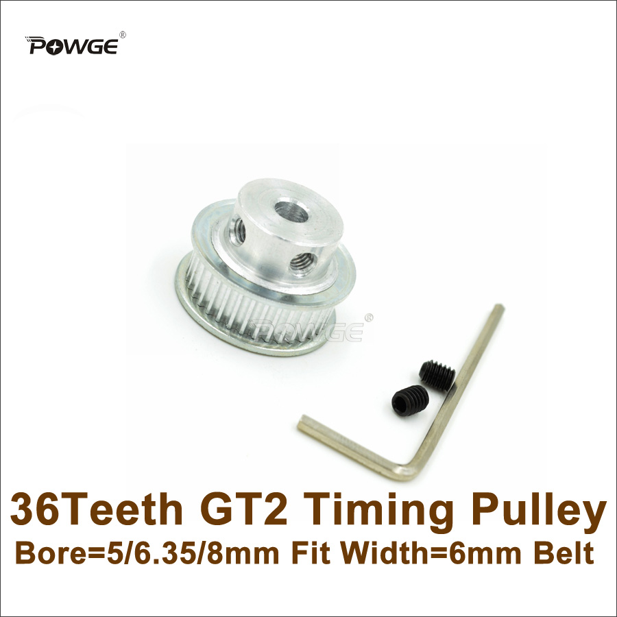 POWGE 36 Teeth 2GT Timing Pulley Bore 5/6.35/8mm Fit Width 6mm 2GT Open Timing Belt <font><b>36T</b></font> 36Teeth <font><b>GT2</b></font> Pulley For 3D Printer image