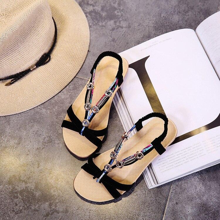 Women Summer Sandals Flat Flip Flop Beach Sandals Elastic Band Bead Slide Big Size Bohemia Style Causal Female Shoes Lady