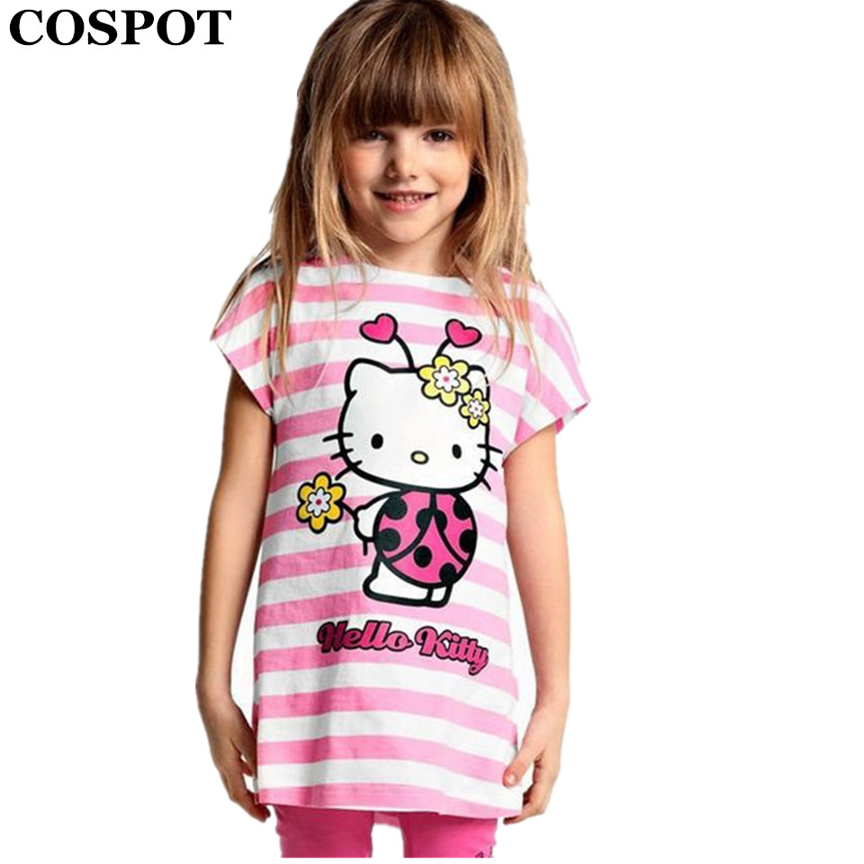 COSPOT Baby Girls Summer Hello Kitty Clothing Set Girl Cotton Suit 2Pcs T-Shirt+Pants Girls Striped Sets 2017 New Arrival 15E iron cage loft style creative led pendant lights fixtures vintage industrial lighting for dining room suspension luminaire