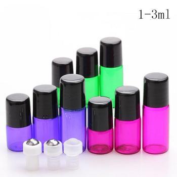 1ml,2ml,3ml Glass Roll On bottles Empty Essential Oil Bottle Black Lids Mini Small sample vials Metal Roller Ball Free Shipping