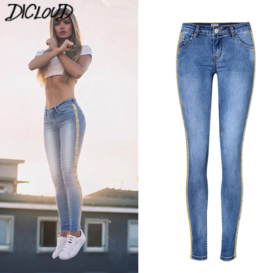 Fashion Stitching Side Tube   Jeans   Women 2018 Low Waist Sequin   Jeans   Female Casual Stretch Pencil Pants Washed Tight Trousers