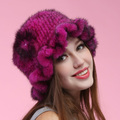 women genuine mink fur hat more colors Russian style autumn winter super warm snow show luxury hair flower