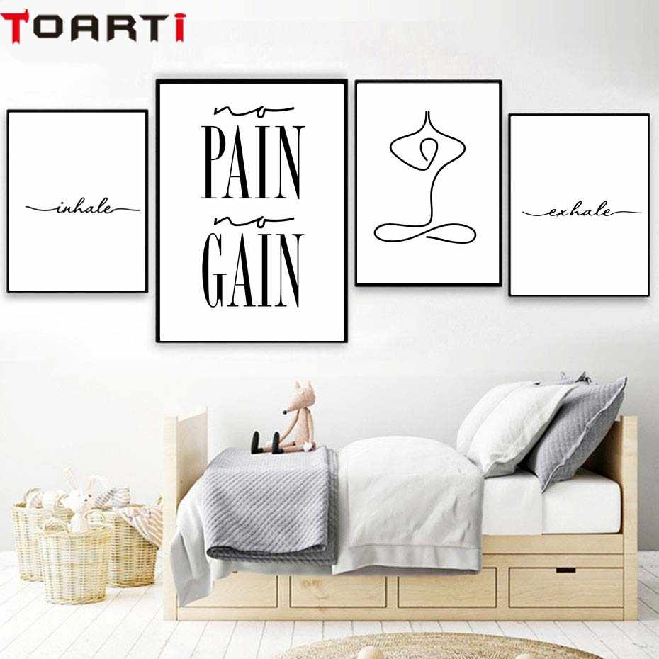 Exhale Inhale Pain Poster Modern Canvas Painting Yoga Wall Decal Art Prints Modular Wall Picture For Living Room Home Decoration