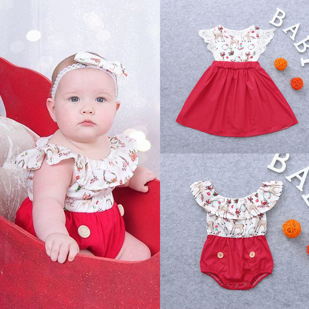 Girls Dressing Christmas Kid Baby Girl Xmas Sister Clothes Deer Romper Lace Christmas Party Sleeveless Child Dress Outfits T#