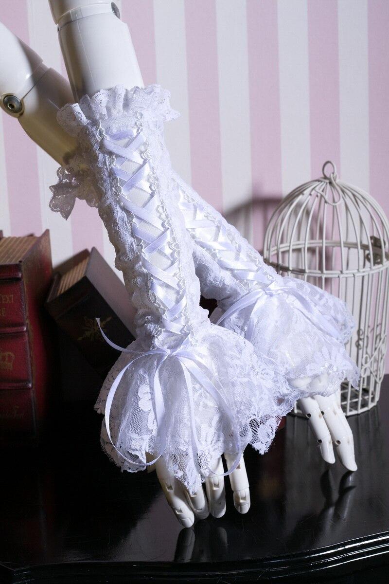 Dentelle blanche poignet sans doigts Bowknot gants croix cravates avec dentelle soirée gants femmes accessoire mode robe