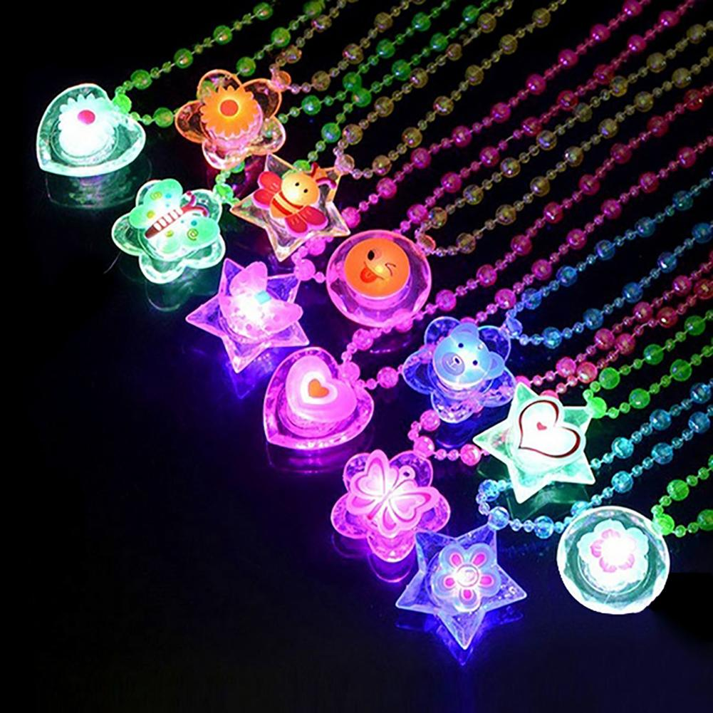 Star Love Heart Flower Butterfly Pendant Beads Light Up Necklace Kids Play Toy