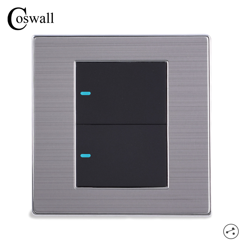 Coswall 2 Gang 2 Way Luxury Led Light Switch On    Off Wall