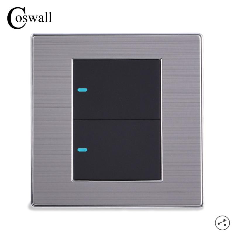 Coswall 2 gang 2 way luxo led interruptor de luz de ligar/desligar interruptor de parede escovado prata painel 10a ac 110 ~ 250 v