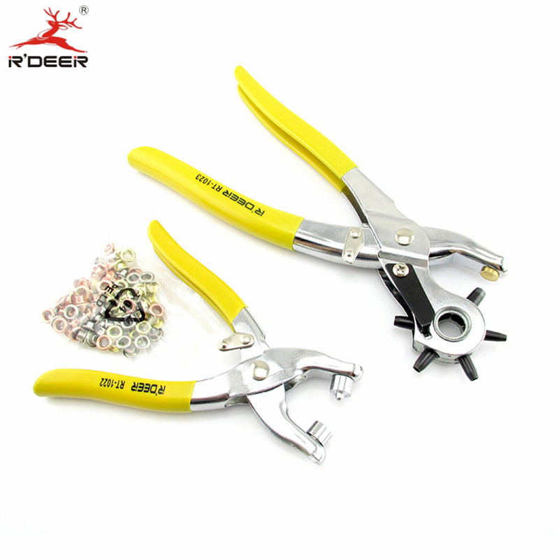RDEER Eyelet Tool Pliers Kit Hole Punch With 100 Eyelets Leather Rivet Setting Tool For Leather Belt Watch Belt