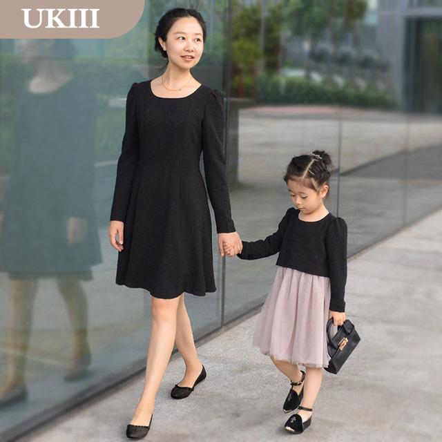 Mirada de la familia madre e hija de paternidad ropa niñas de manga Larga vestido de princesa falda negro clásico Vestidos de las faldas de los niños