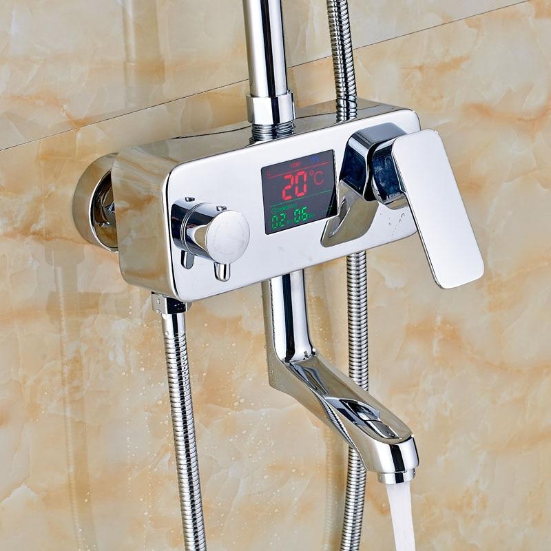 Exposed Chrome Finish Rainfall Shower Set Bathtub Tap Single Lever ...