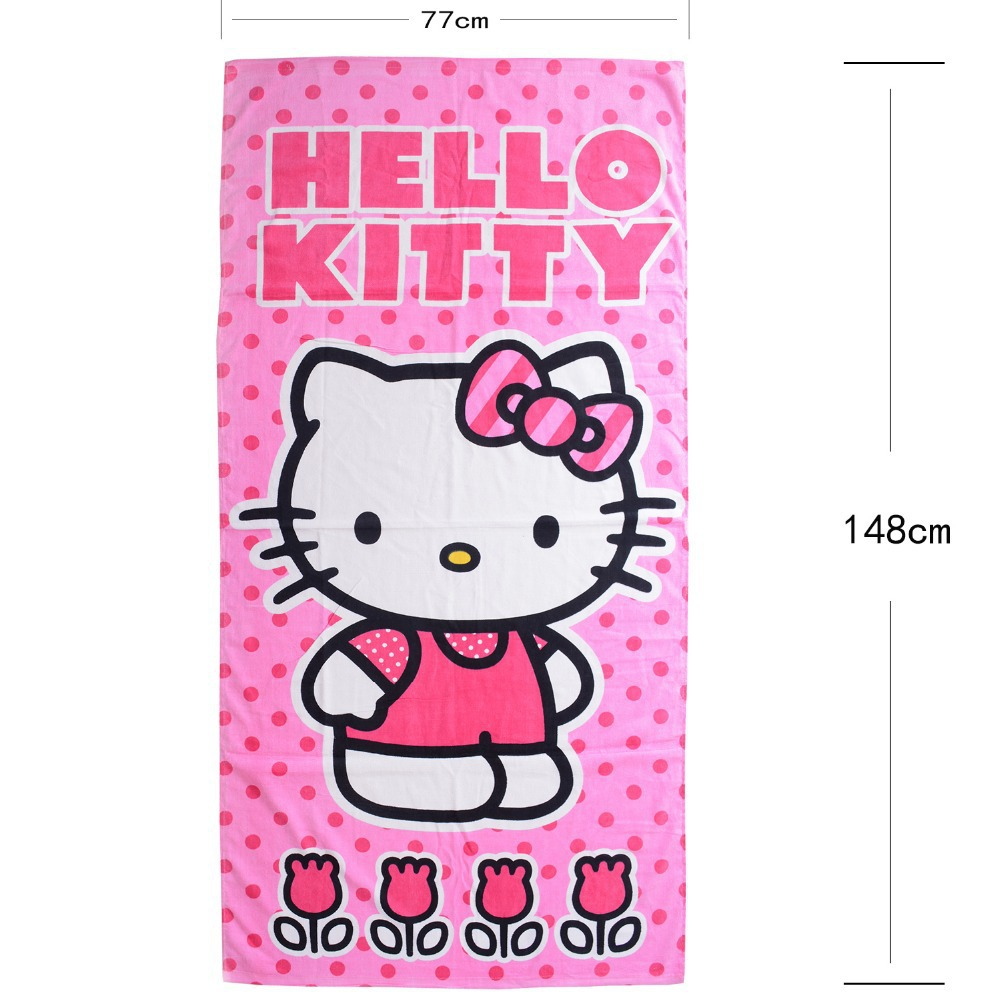 Large Hello Kitty Bath Towels Pink Kitten Cat Flowers Cartoon Beach
