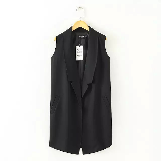 summer new women cardigan solid color lapel Korean sleeveless vest suit female outwear coat jacket cardigan