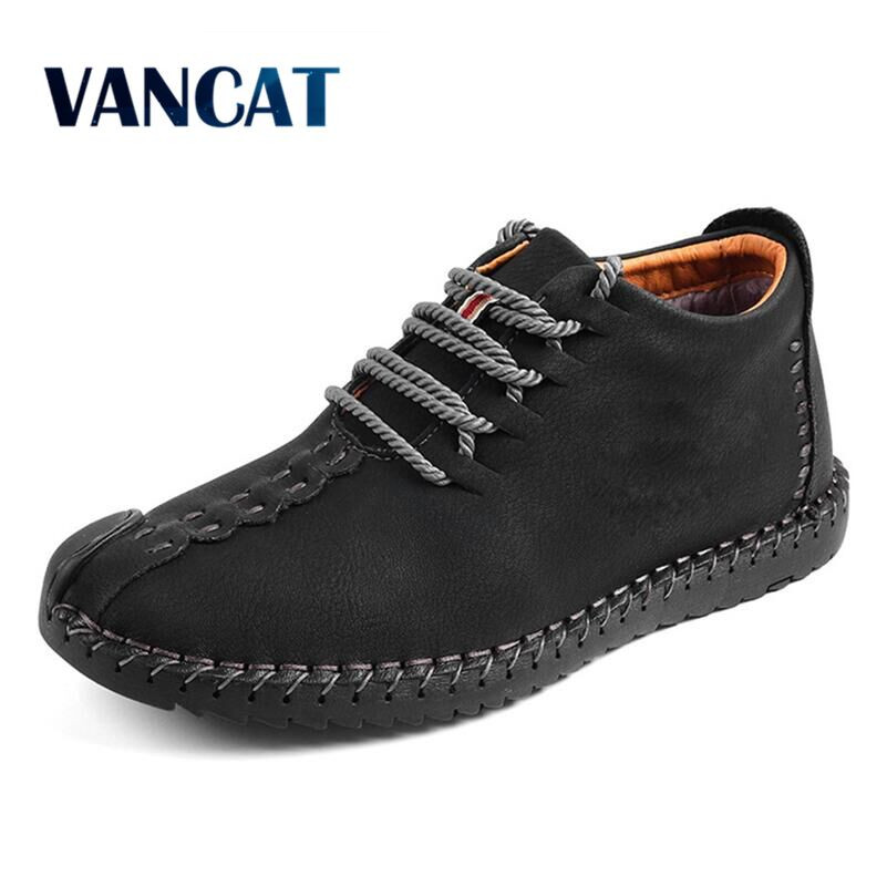Vancat New Men Boots High Quality Split Leather Ankle Snow Boots Shoes Warm Fur Plush Lace-Up Winter Shoes Plus Size 38~48