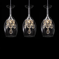 Modern fashion dining room K9 Crystal 5w LED Chandelier DIY home decoration living room clear glass wine cup design lighting