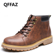 QFFAZ 2018 Genuine Leather Autumn Winter Work Shoes Men Boots Fashion Men shoes Male Brand Ankle Boots vintage lace up boots