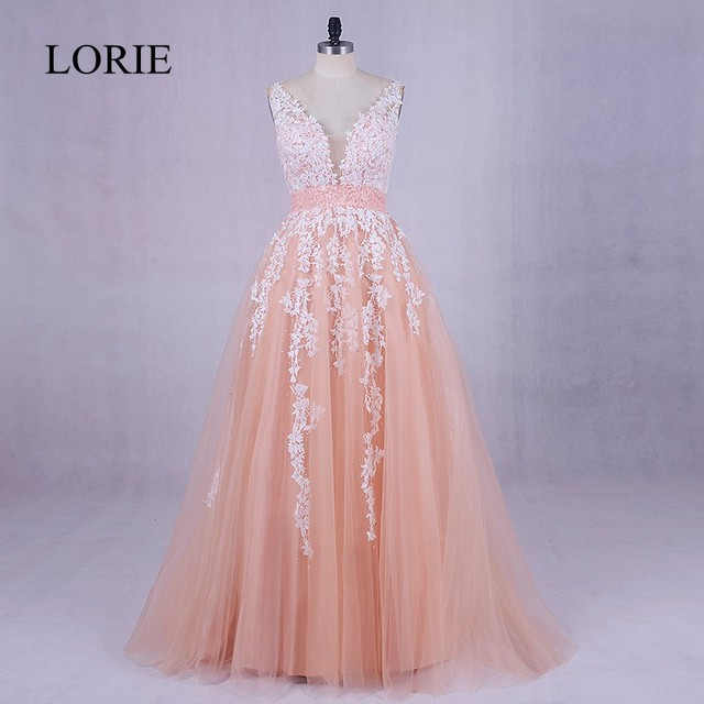 1ca15ced802 Coral Long Evening Party Dress 2018 LORIE Appliqued Lace Puffy Prom Dresses  Vestidos De Graduacion Sexy Women Formal Dresses