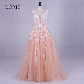 5b8b1f6fb Coral largo vestido de fiesta 2018 Lorie appliqued LACE puffy baile vestidos  de graduacion sexy mujeres