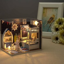 3D DIY Wooden Miniatura Dollhouse Face to Sky Handmade Home Decorations Model Kits with Doll Gift