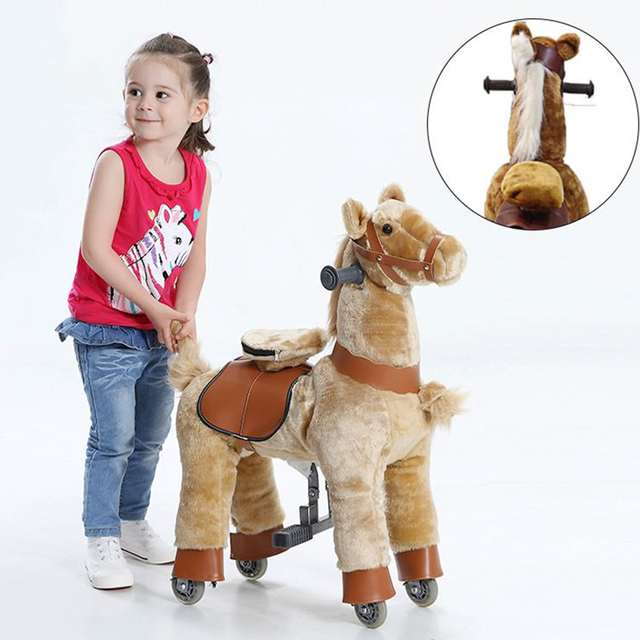 Ride on Horse Toy with Wheels for Kids Plush S Size Animal Rides Scooter Christmas Gifts for Kid Children New Year Birthday Gift