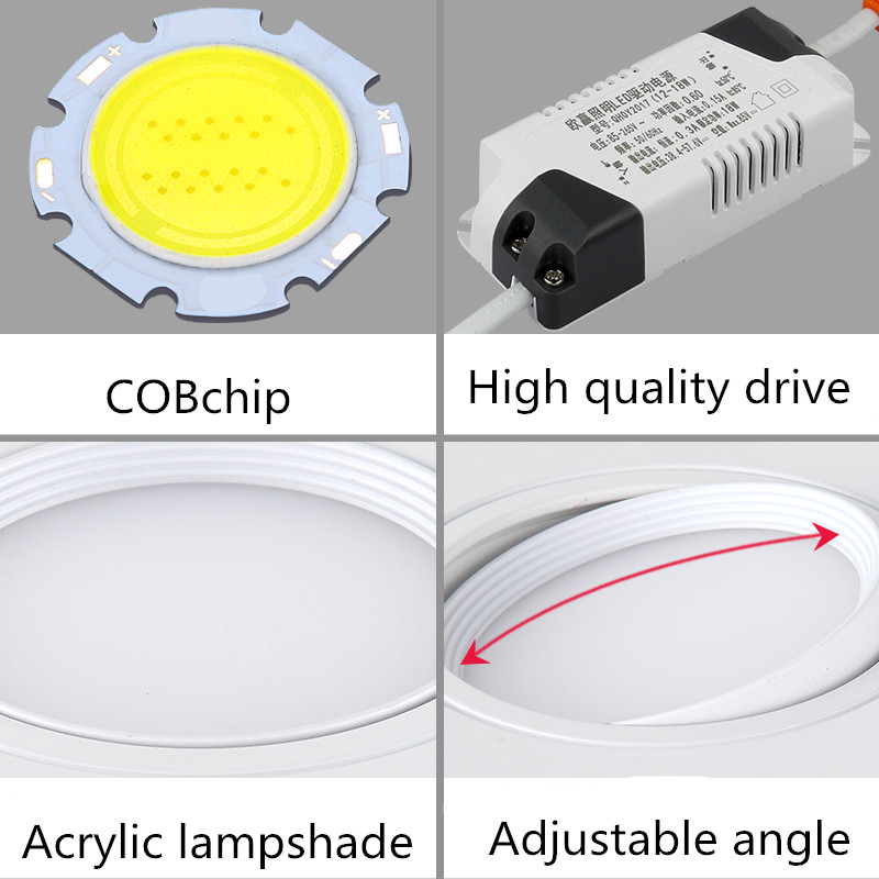 lowest price Dimmable led ceiling light 7W 10W 12W 15W LED surface mounted ceiling lamp Foldable and 360 degree rotatable led COB spot light