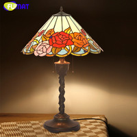 FUMAT Stained Glass Table Lamps Retro Art Decor Rose Table Lamp For Living Room LED Office Studio Stand Bedside Table Lights