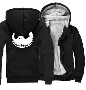 Image 3 - Jack Skellington Evil Face Print Hip Hop Streetwear Hoody 2018 Winter Thick Hoodies For Men Harajuku Zipper Jacket Sweatshirt